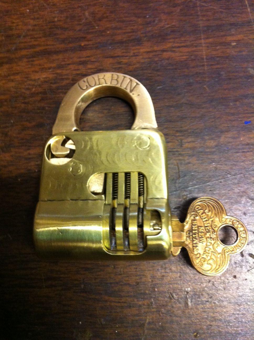 Front Side Of One Of My Corbin Pin Tumbler Cutaway Padlocks Ancient Key Vintage Keys Key Lock