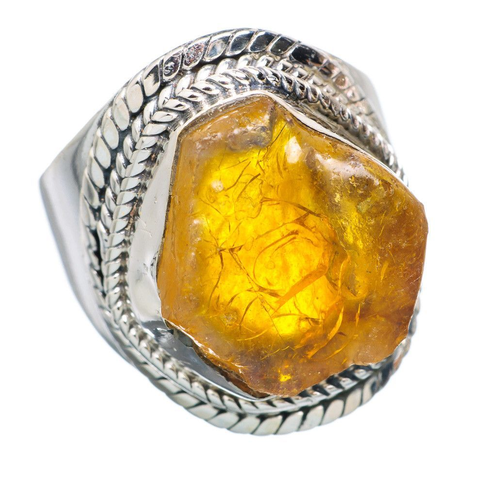 Rough Citrine 925 Sterling Silver Ring Size 8.25 RING725662