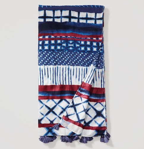 """Perfect for wrapping up on the beach or accessorizing at brunch, this tasseled cotton piece is a bohemian-chic statement to keep close. 85"""" x 44"""".     Items in our Swim Collection can only be exchanged or returned by mail."""