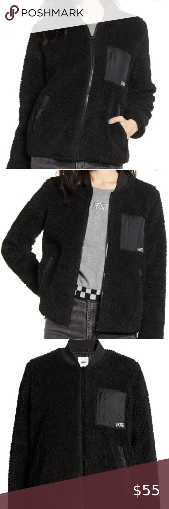 Vans Sherpa Bomber Teddy Bear Fleece Jacket Womens In 2021 Fleece Jacket Womens Coats Jackets Women Long Bomber Jacket [ 1740 x 580 Pixel ]