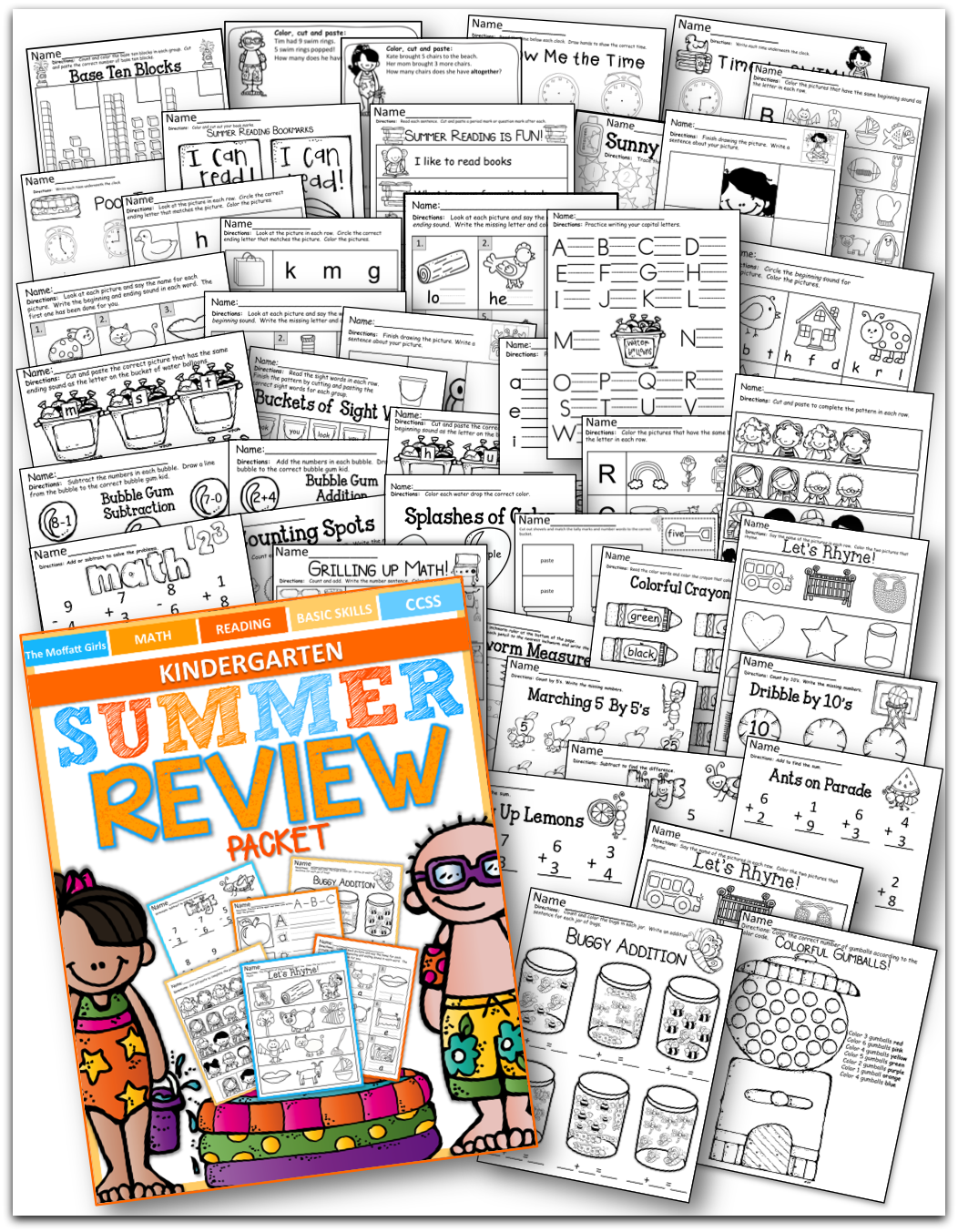 Summer Review No Prep Kindergarten