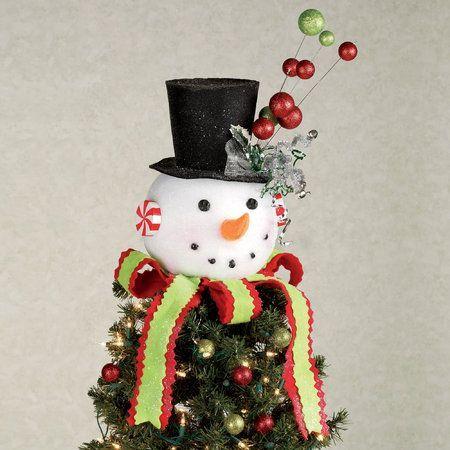 Cracker Barrel Snowman Tree Topper Snowman Christmas Accent White