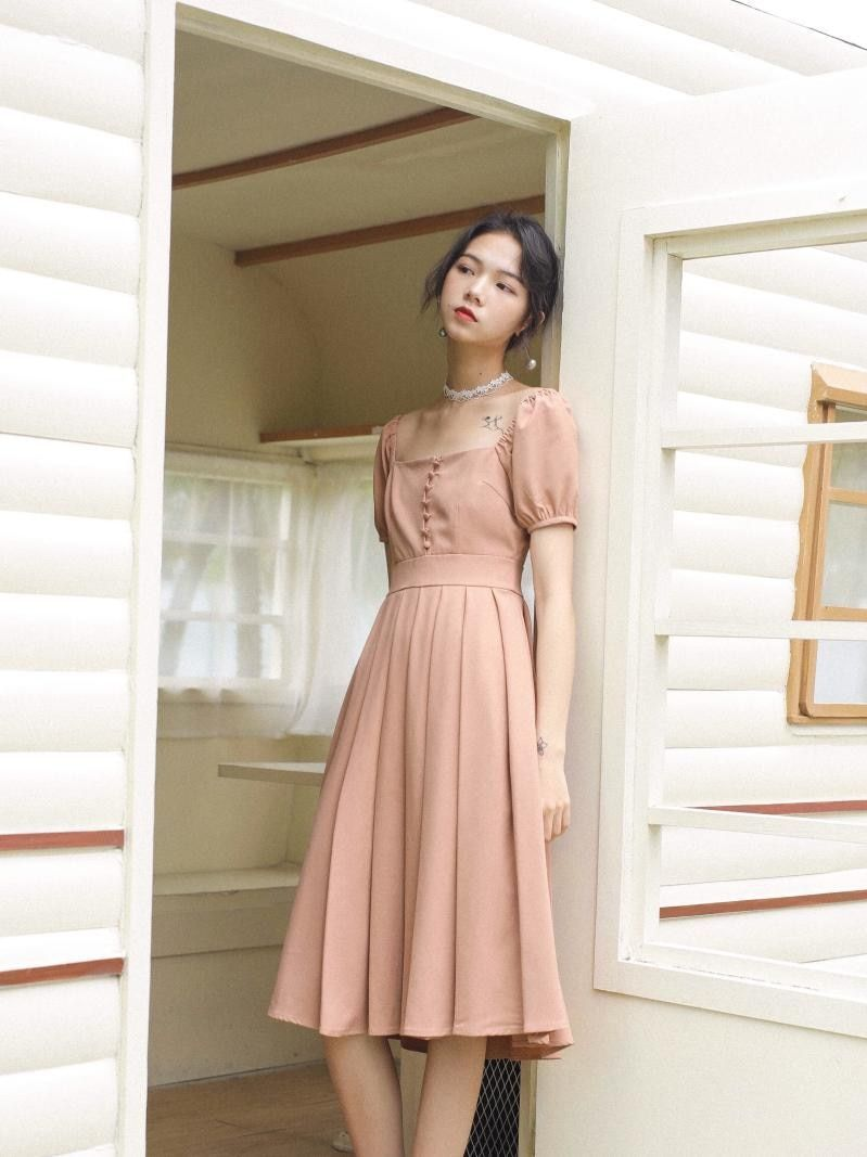16 new fashion women Summer dresses French square neck dress