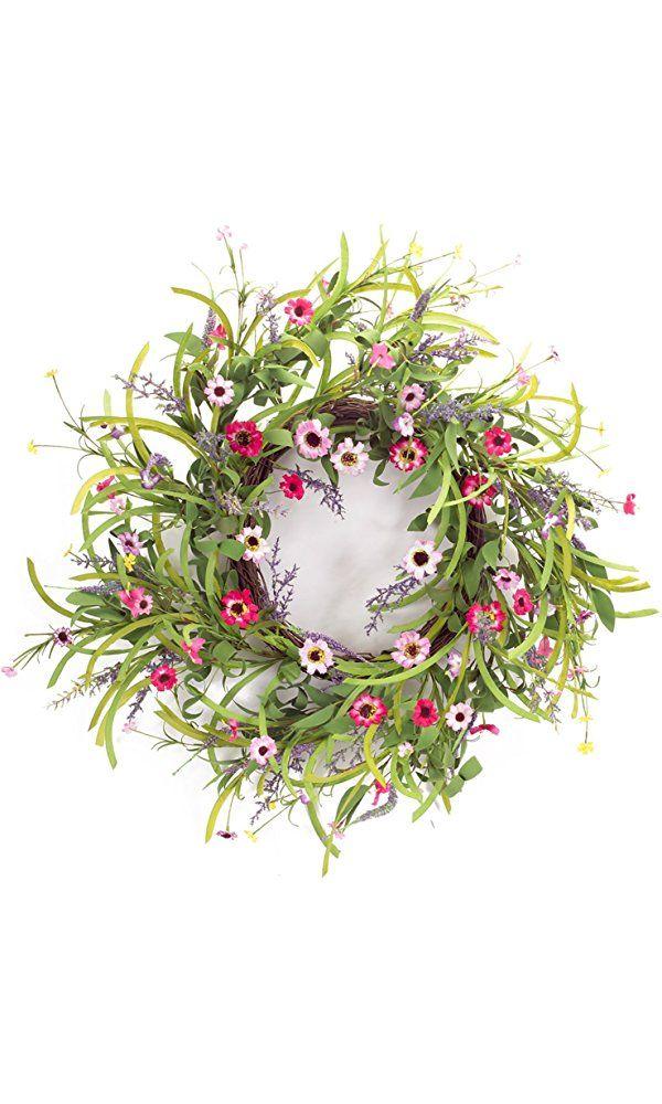 """Melrose International Pink and Lavender Wild Flower Wreath, 32"""" Best Price"""