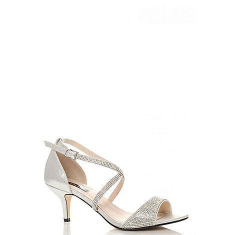 4d0db8889 Quiz Silver shimmer diamante low heel sandals