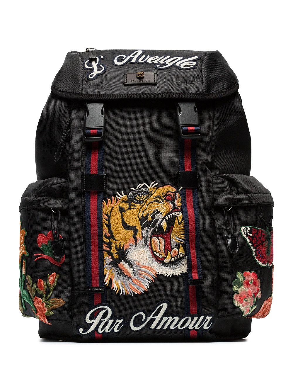 4eb5397e95 Gucci Black tiger embroidered backpack