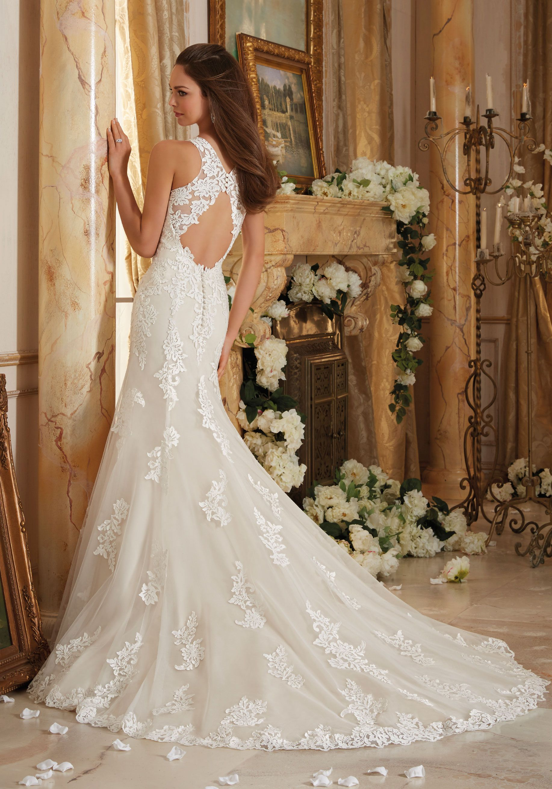 Mori lee madeline gardner wedding dress  Frosted Beading on Embroidered Appliques and Wide Hemline onto Soft
