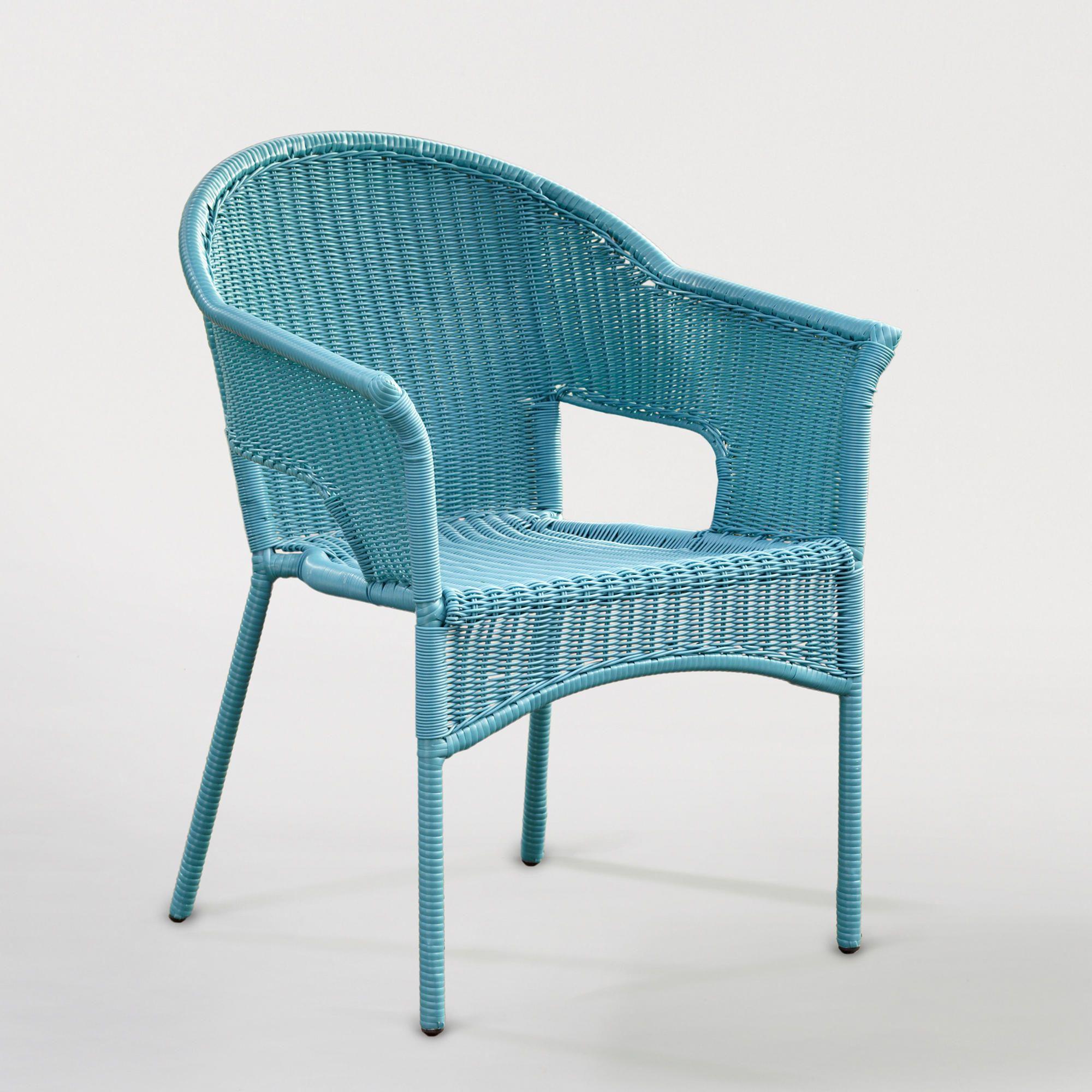 Blue AllWeather Wicker Tub Chair World Market Blue