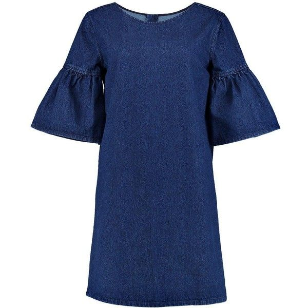 Boohoo Milly Ruffle Sleeve Denim Dress   Boohoo (£25) ❤ liked on Polyvore featuring dresses, high waist dress, punk rock dresses, rock n roll dresses, slim fit dress and denim dress