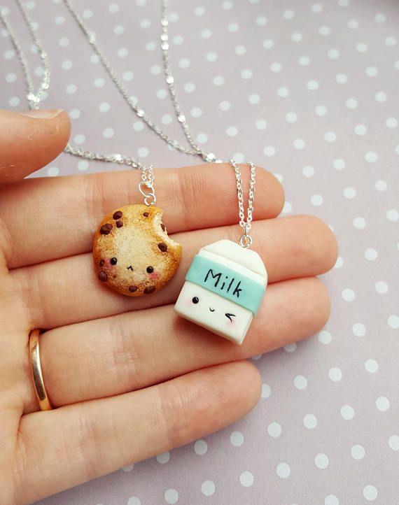 Collar de galletas y leche BFF, colgante, amistad, joyas en miniatura, llavero de mejor amigo, cadena kawaii, colgante de comida