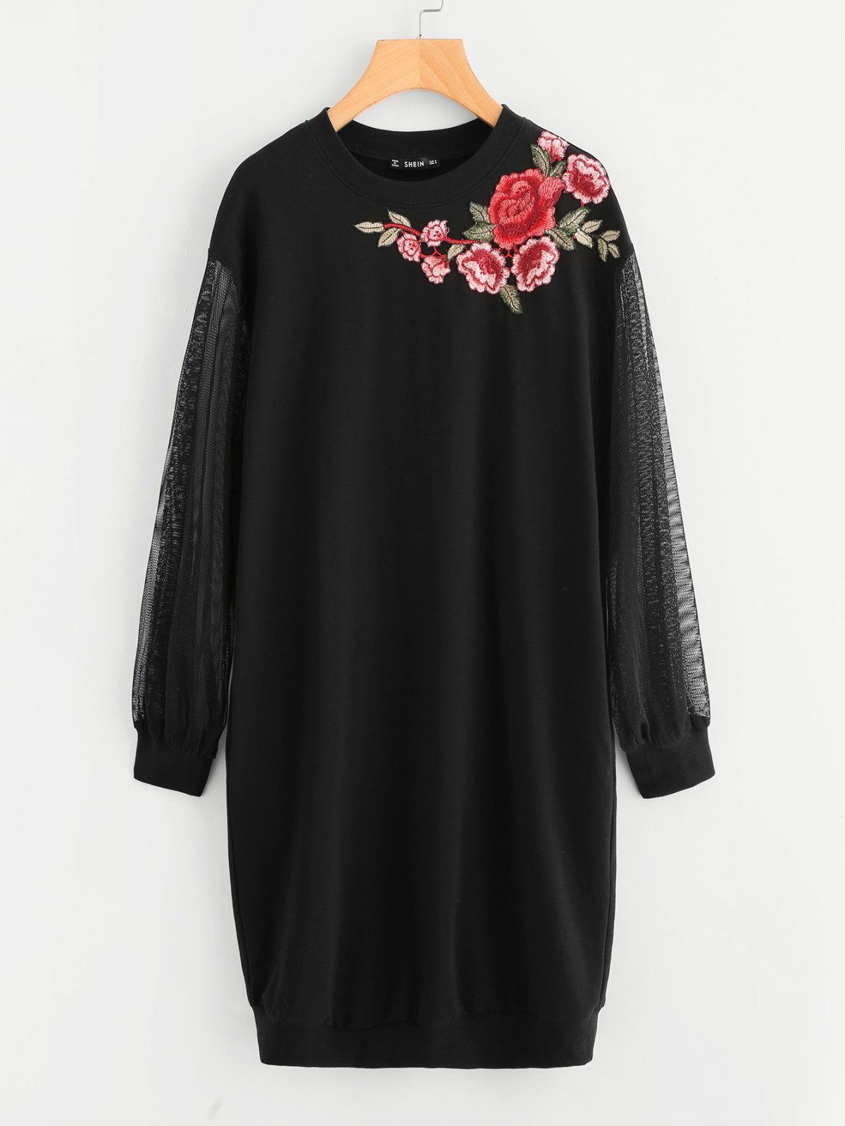 Embroidered flower patch mesh sleeve long sweatshirt sweatshirt