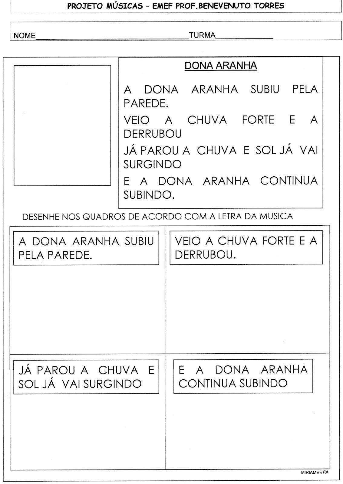 Sequencia De Atividades Com A Musica Dona Aranha Musica Dona