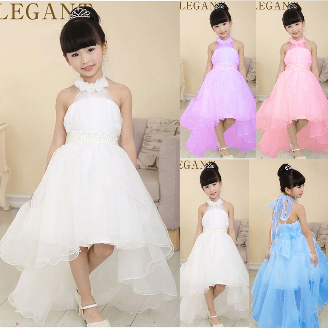 c7fba5845fe 2017 Little Girl Ball Gown with flower white pearl belt baby Girls party  wear Dresses with long trailing wedding evening dress