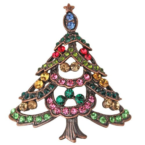 Holiday Magic Christmas Tree Pin (Coppertone) Kirks Folly Online
