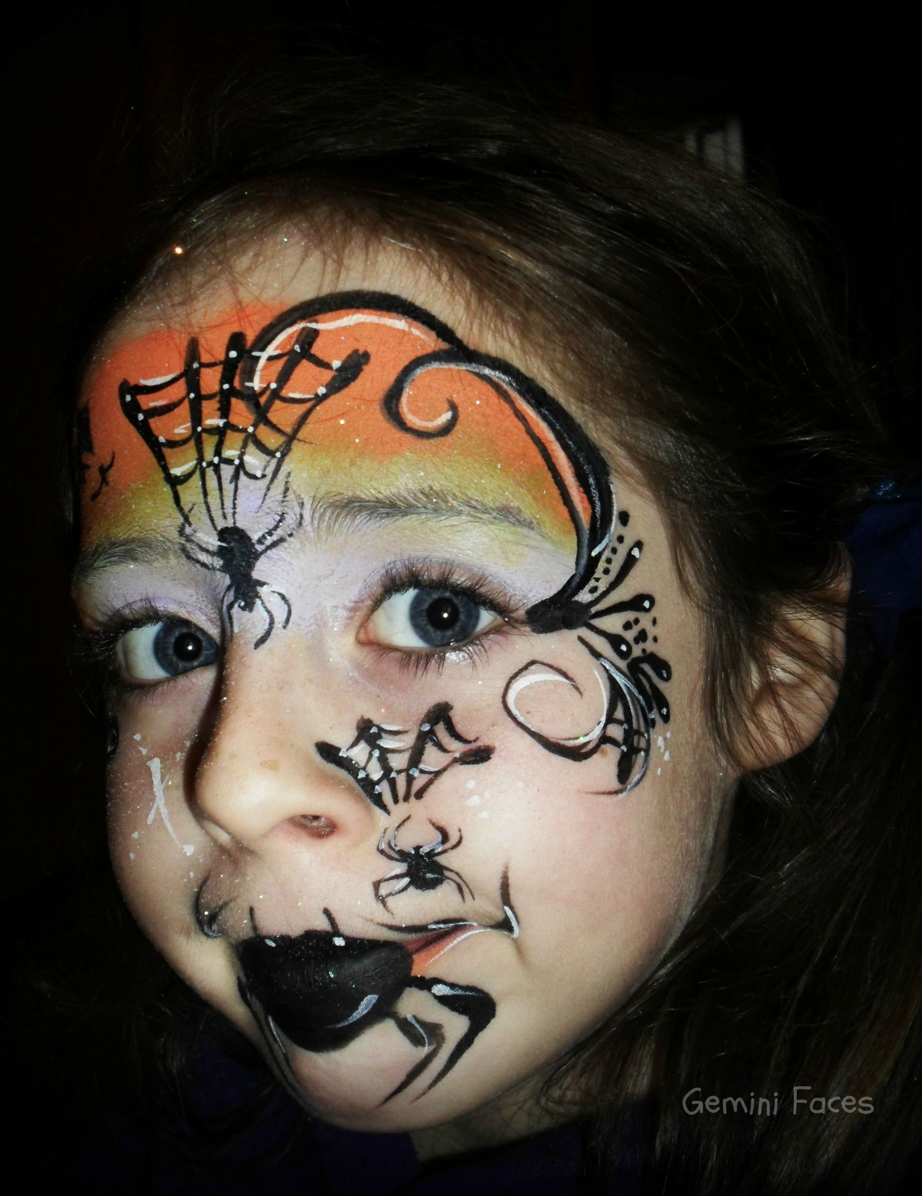 cute child's Halloween face painting