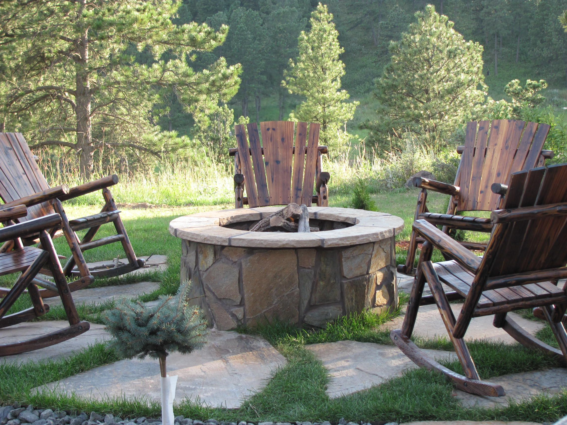 Fire pit Gas Fire pit and flagstone patio