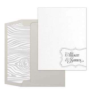 This stylish personalized thank-you card is the perfect outlet when you have a hankering to do some thank-ering. A decorative design in navy ink frames your name (or names) in the bottom right corner. Printed on eye-catching diamond white paper that sports an elegant sparkling finish. Pair it with a Silver Metallic envelope and Wood Pattern envelope liner as shown for a thank-you note of true distinction.