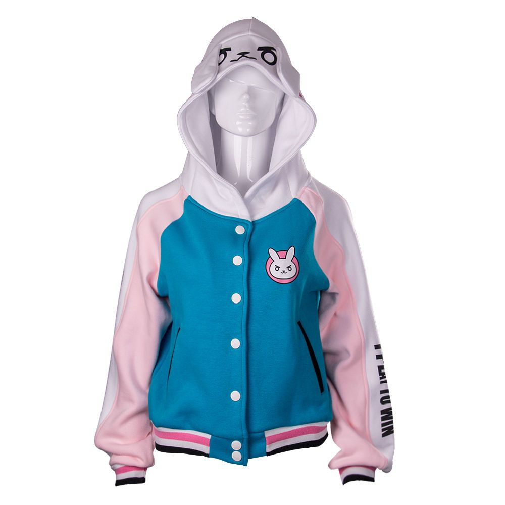 Adult Overwatch DVA D.va Women Lady Baseball Jacket Cosplay Costume Hoodies