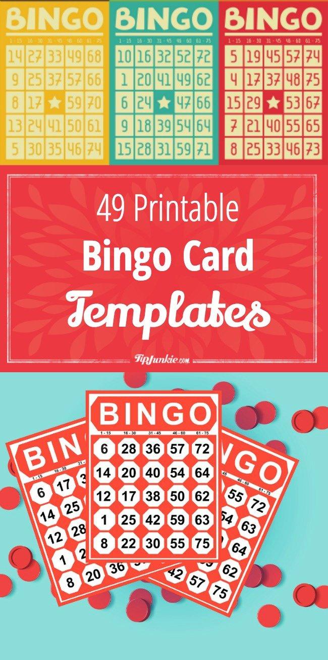 49 Printable Bingo Card Templates Bingo Card Template Free Bingo Cards Bingo For Kids