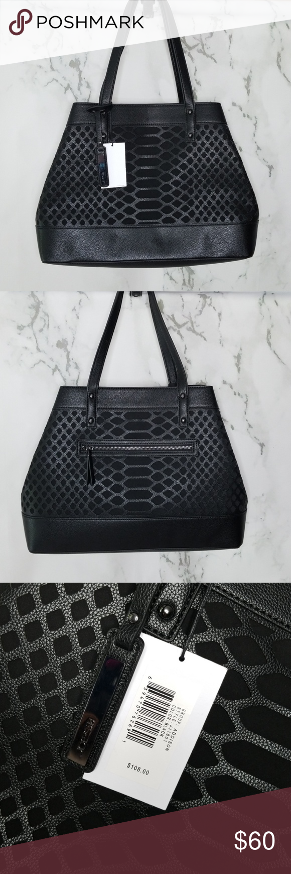44daf0ccb218 Joe's Jeans Addison Black Tote Gorgeous laser cut black faux leather Addison  tote from Joe's Jeans