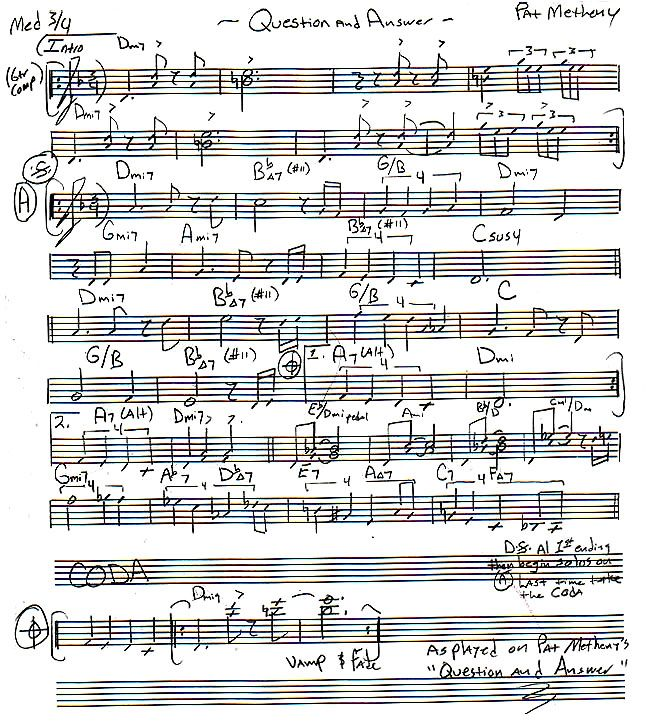 """Pat Metheny - Lead Sheet of """"Question and Answer""""   This ..."""