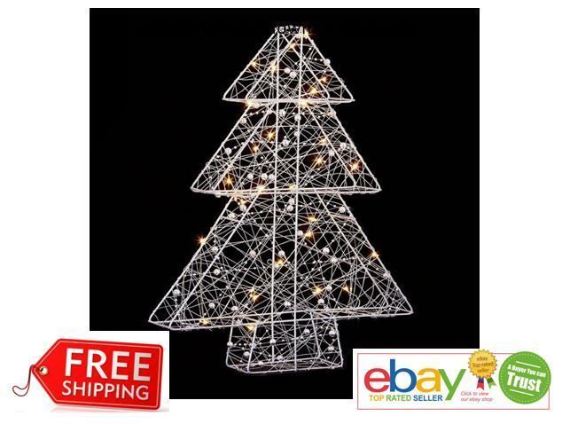 Details about 40Cm White 30-LED Light Wire Xmas Tree Battery