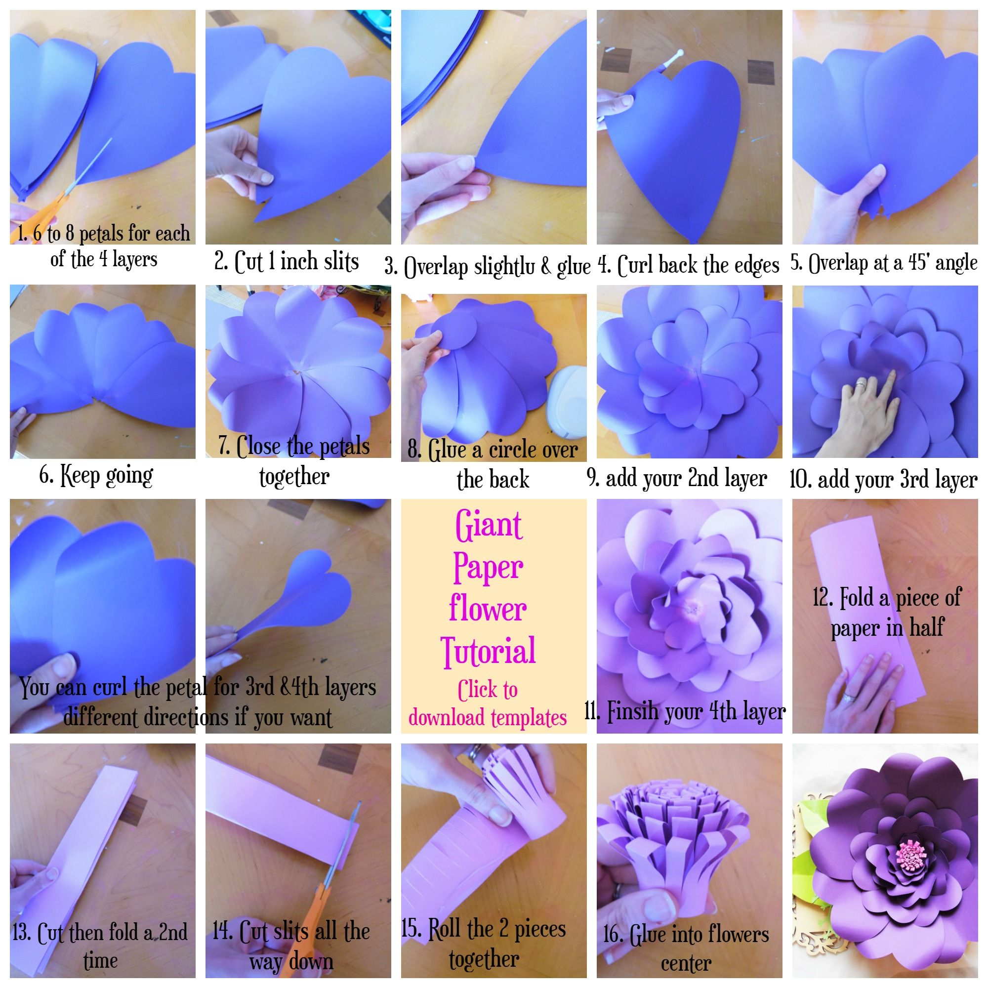 If you want to download the template above simple click the picture - Step By Step Giant Paper Flowers Templates Available How To Make Paper Flowers