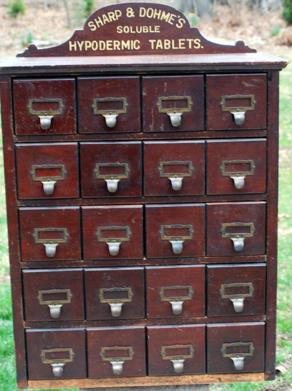 Antique Apothecary Cabinet Pharmacy Display Sharp & by WoodBeauty - Antique Apothecary Cabinet Pharmacy Display Sharp & Dohme's