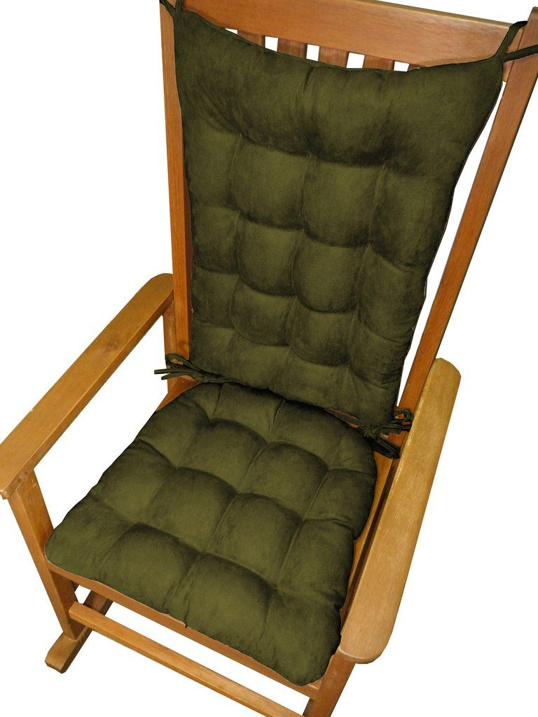 Micro Suede Laurel Green Rocking Chair Cushions   Latex Foam Fill,  Reversible