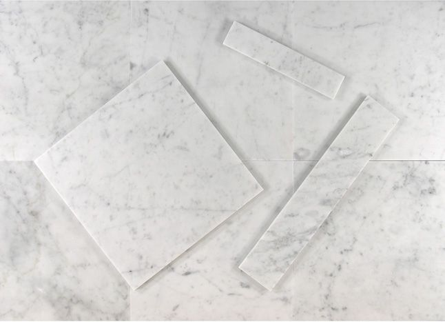 Sino Carrara Sino Carrara 12x12 Polished Tiles Bordered With Mosaics Traditionally Class Marble Bathroom Designs Carrera Marble Bathroom Marble Tile Bathroom