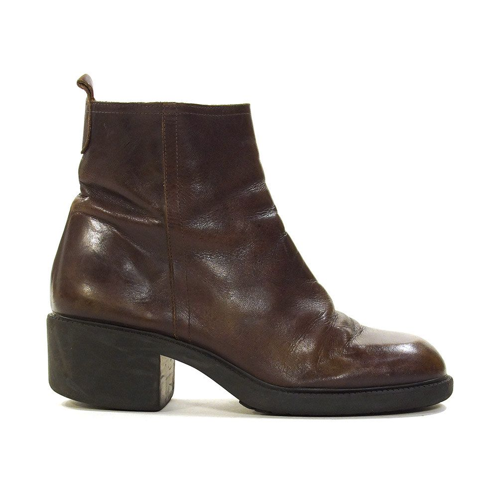 346091ae9a18c 90s Leather Ankle Boots / 1990s Chunky Zip Up Dark Brown Booties ...