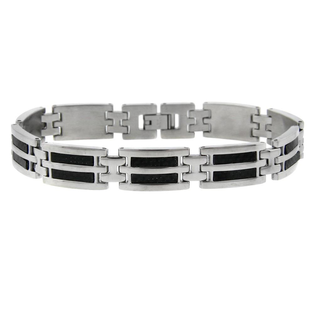 Men's Stainless Steel Inlay Bracelet - Black, Size: 9.0