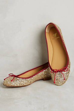 Sparkly gold flats with red trim? YES, please!