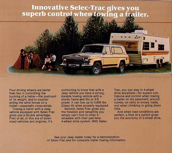 Jeep Cherokee Sj Catalog Page Promoting The Towing Benefits And