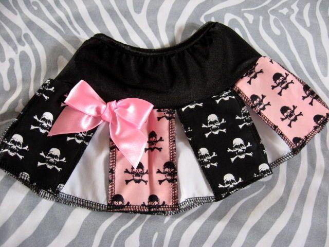 NEW Baby Girls Black White Pink Blue Funky Skulls Skirt Alternative Gift Party