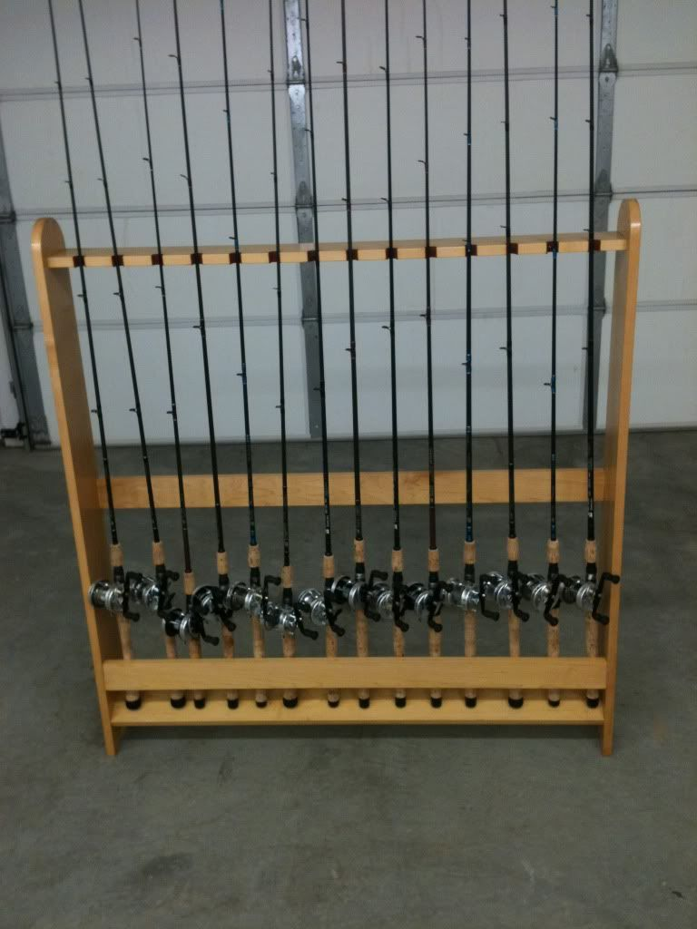 Fishing rod holders by codenamedarkblue lumberjocks for Fishing rod rack
