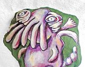 Fairy Cthulhu - Monster Doll - Stuffed Animal - Soft Action Figure - Sewn Softie - Sack Toy - Hand Painted - Free Shipping