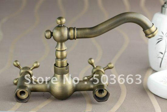 Wall Mounted Antique Brass Bathroom Faucet Kitchen Basin Sink Mixer