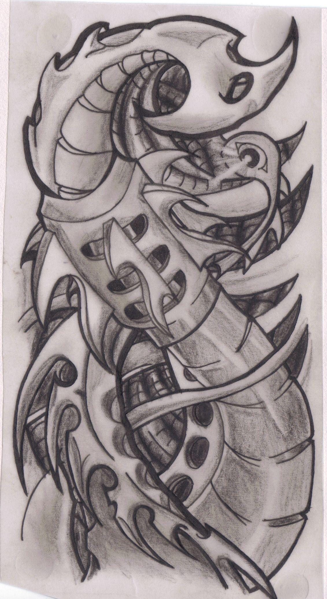 Biomechanical tattoo design by A Kir on Tatto