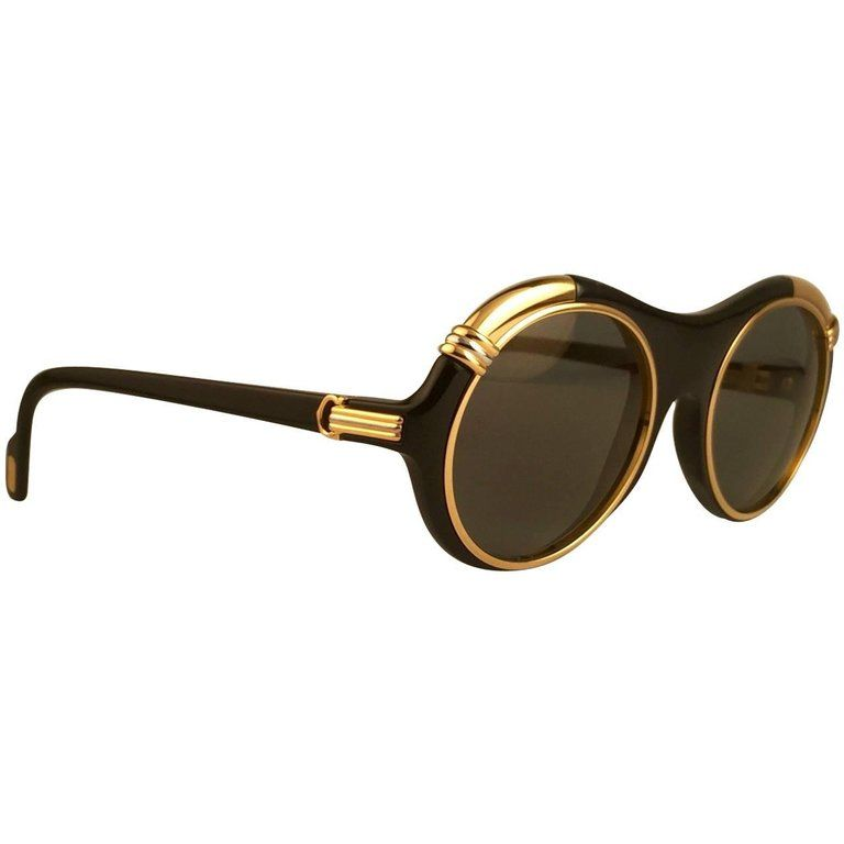 045ee697e07a New Cartier Diabolo Gold and Black 53mm 24k Gold Sunglasses France ...