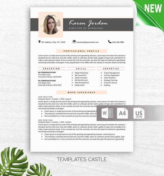 Professional Resume Template Word with Photo, Modern Resume Design