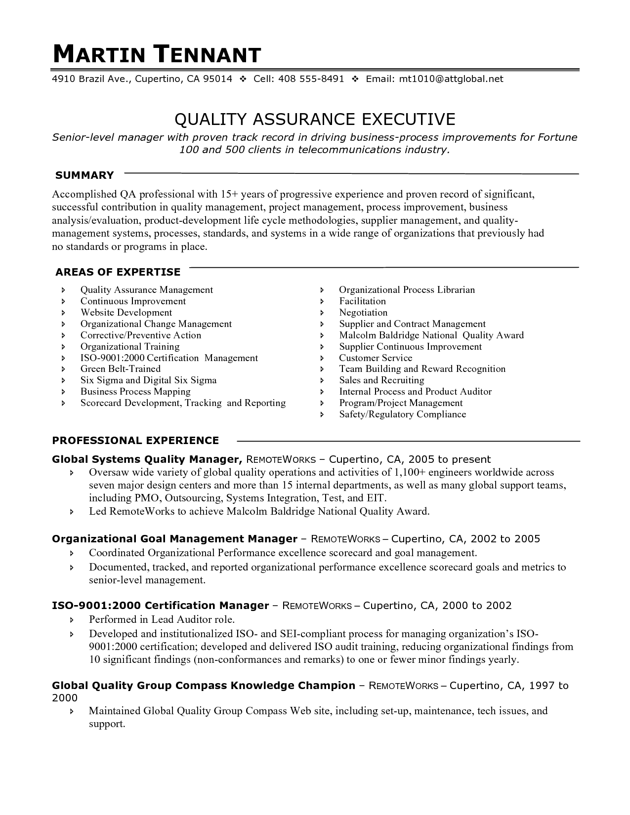 Resume Templates Quality Assurance Manager ResumeTemplates