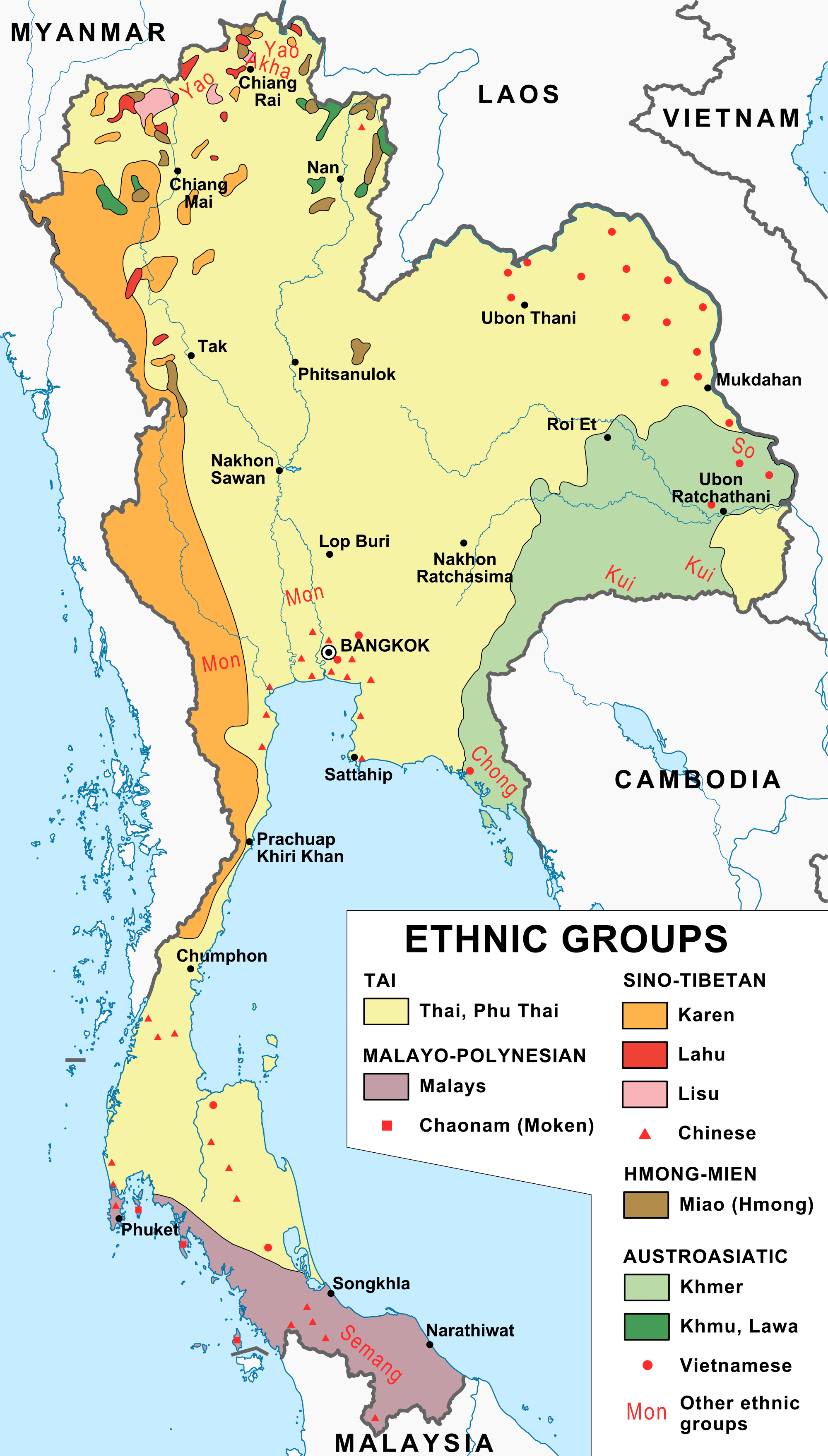 An ethnological map of Thailand (1974). | Map, Asia map ...