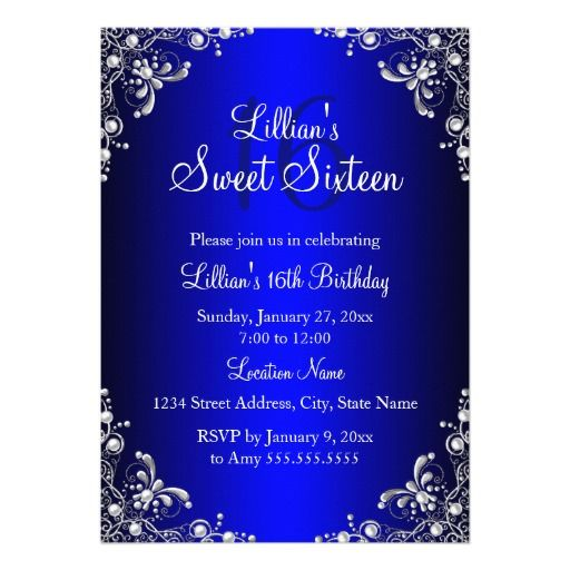Royal blue sweet 16 silver pearl damask 5x7 paper invitation card royal blue sweet 16 silver pearl damask 5x7 paper invitation card stopboris Choice Image