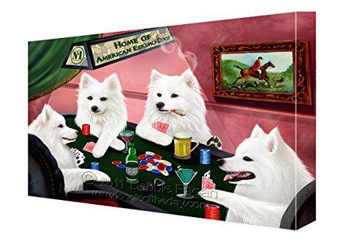 House Of Americaneskimo Dogs Playing Poker Canvas 8x10 Https Www Amazon Com Dp B01mqix39f Ref Dogs Playing Poker American Eskimo Dog American Eskimo