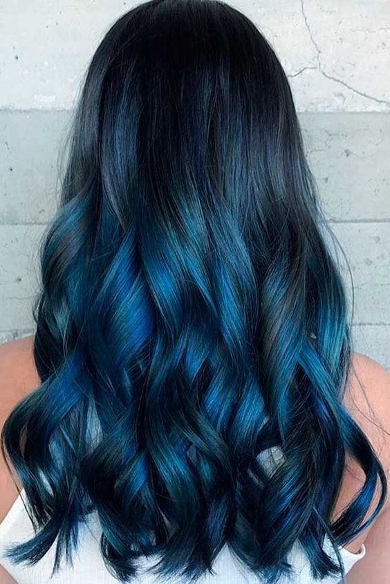 Long Wavy Black Roots Ombre Dark Blue To Blonde Tips Three Tones Synthetic Lace Front Wigs Heat Resistant Best Synthetic Wigs Us 63 11 Cool Hair Color Hair Color Blue Hair Styles