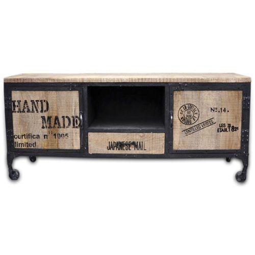 Mueble tv ruedas madera forja estilo industrial for Mueble tv industrial