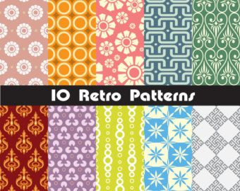 Geometric Seamless floral patterns,abstract,retro, fabric, frame, DIGITAL ,Scrapbooking PAPERS, Instant Download Vector EPS