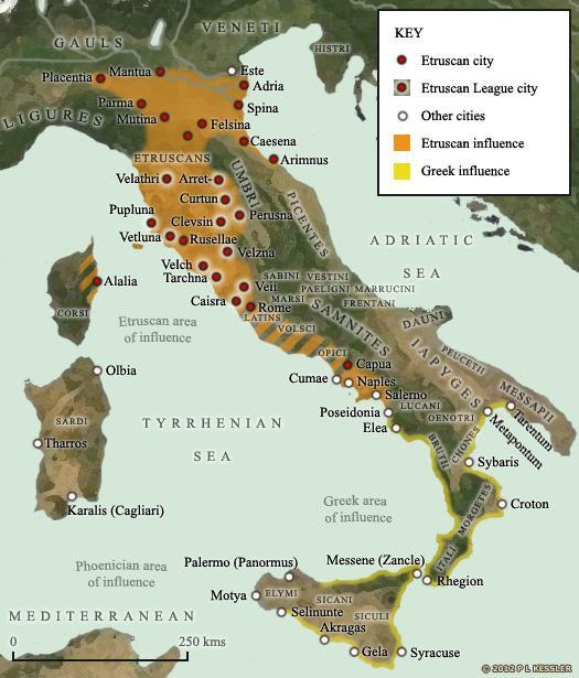 Map of Etruscan and Greek influence in Italy   Ancient ...