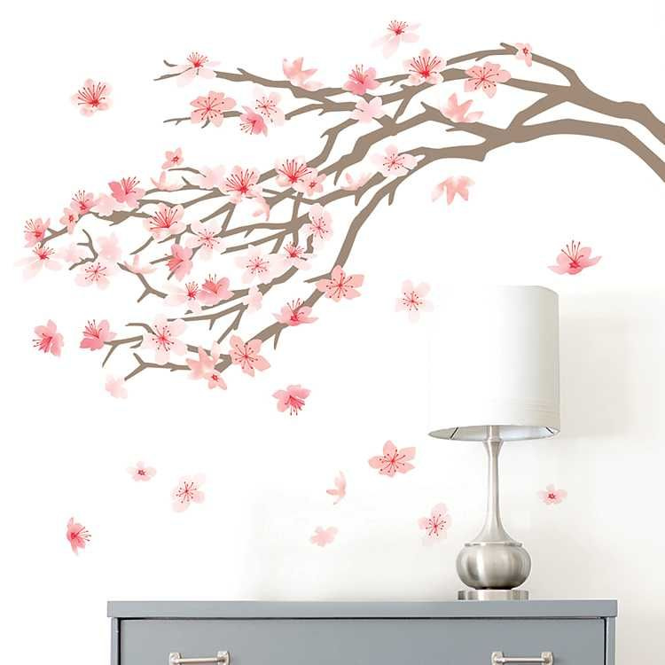 Pink Cherry Blossom Tree Wall Decal Kirklands Cherry Blossom Wall Art Cherry Blossom Decor Tree Wall Painting
